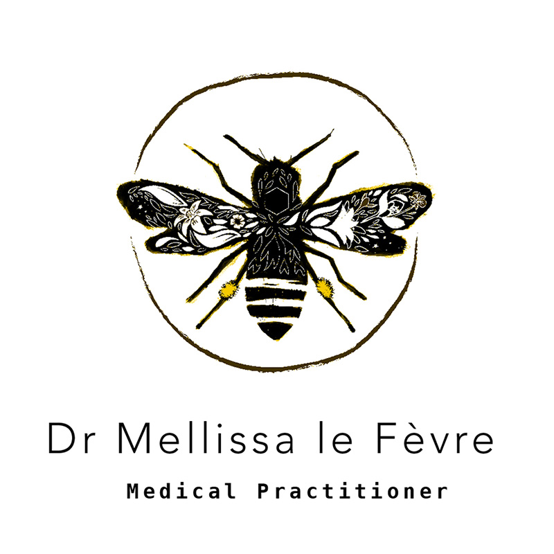 Logo design for medical doctor and holistic practitioner Dr le Fevre, with a illustration of a hand-drawn bee