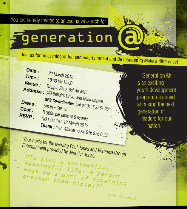 Digital promotional design for an event - a invite design for Generation@ with a grunge, youthful, ink splashed look with lime green