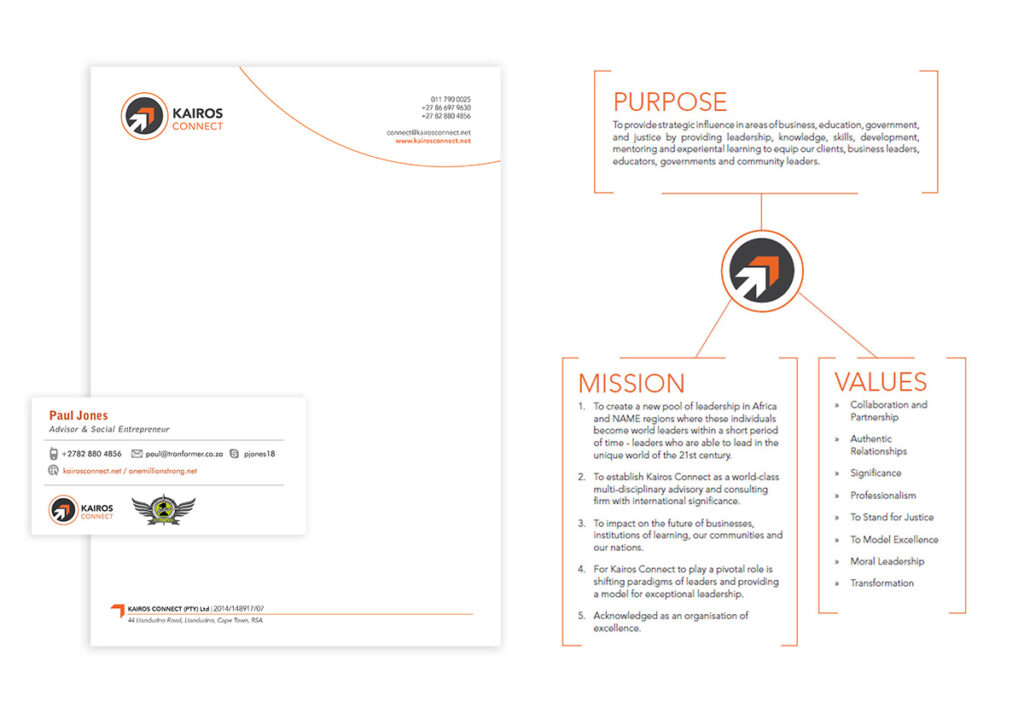 Business card, letterhead design and a company overview graphic for Kairos Connect - part of a brand revamp