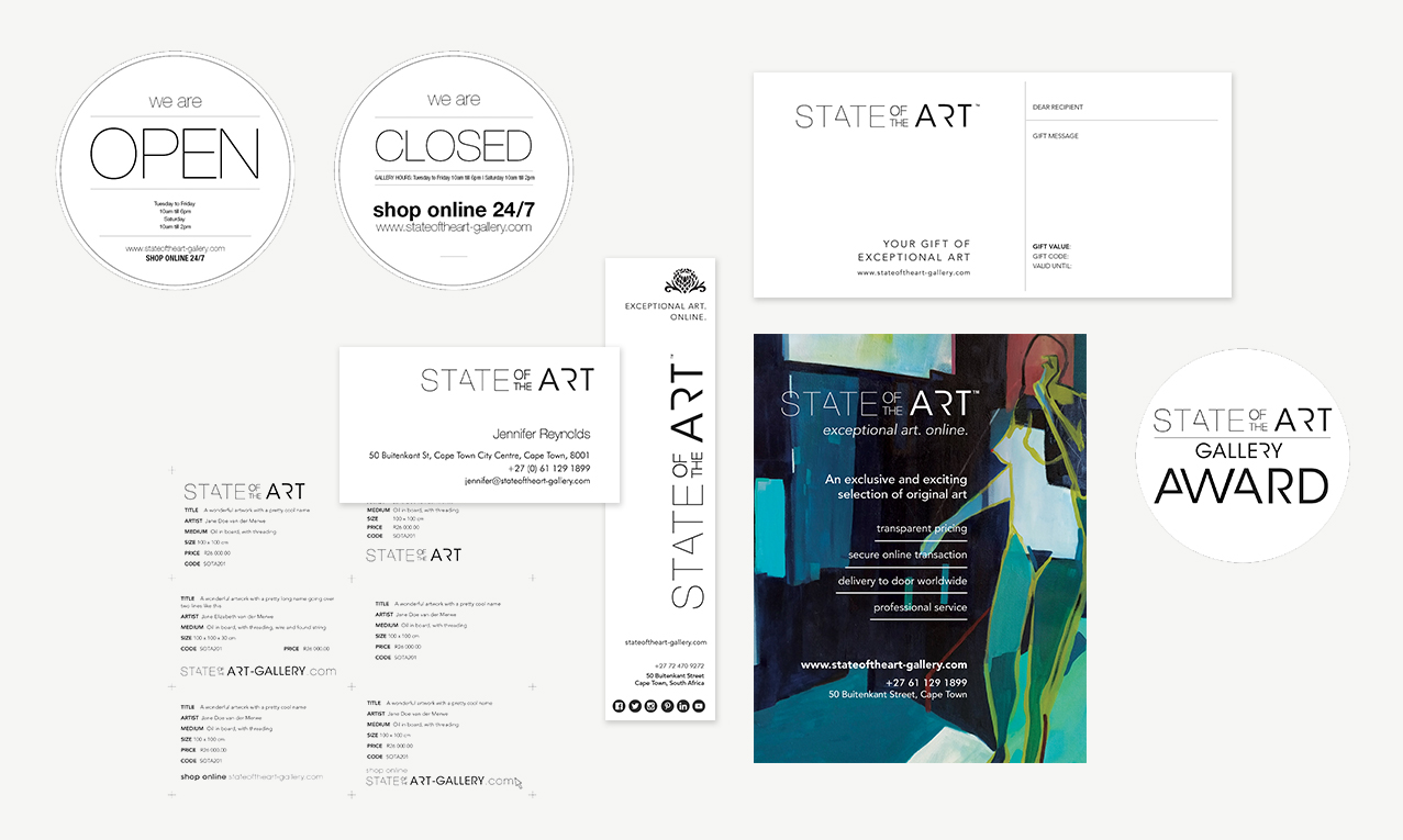 Brand identity or general visual design for StateoftheArt Gallery, by visual artist and designer Janet Botes