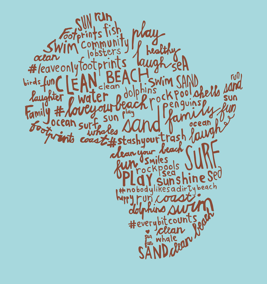 Illustration with hand-drawn typography in the shape of the African continent, for a t-shirt design