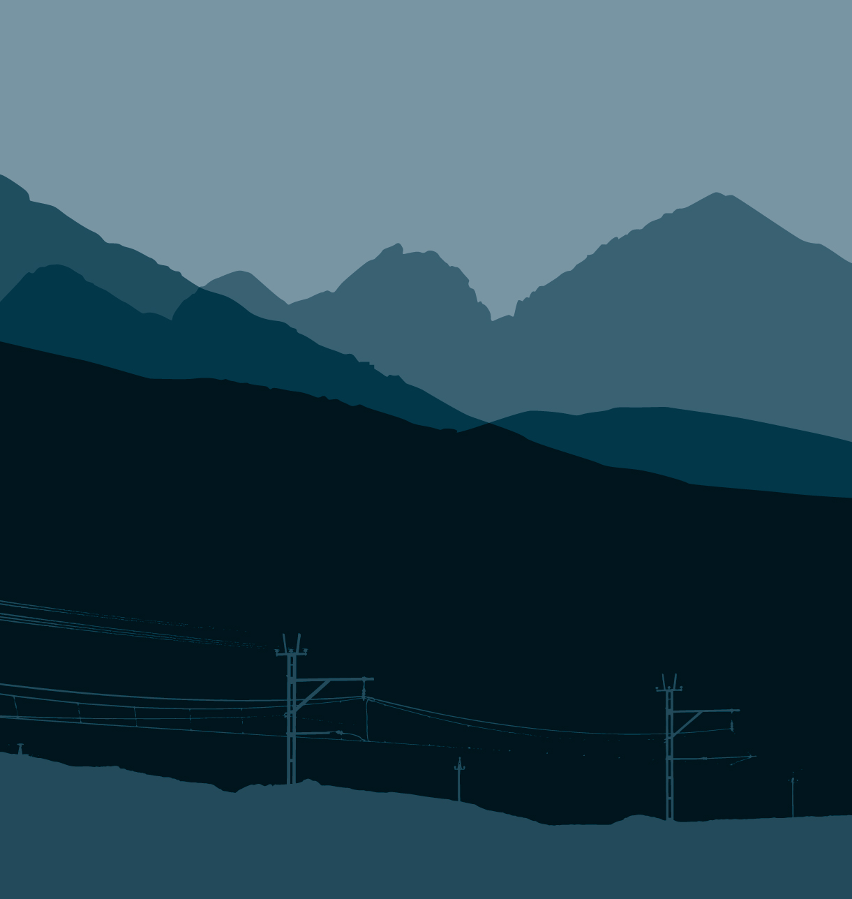 Stylized landscape vector illustration in tones of blue