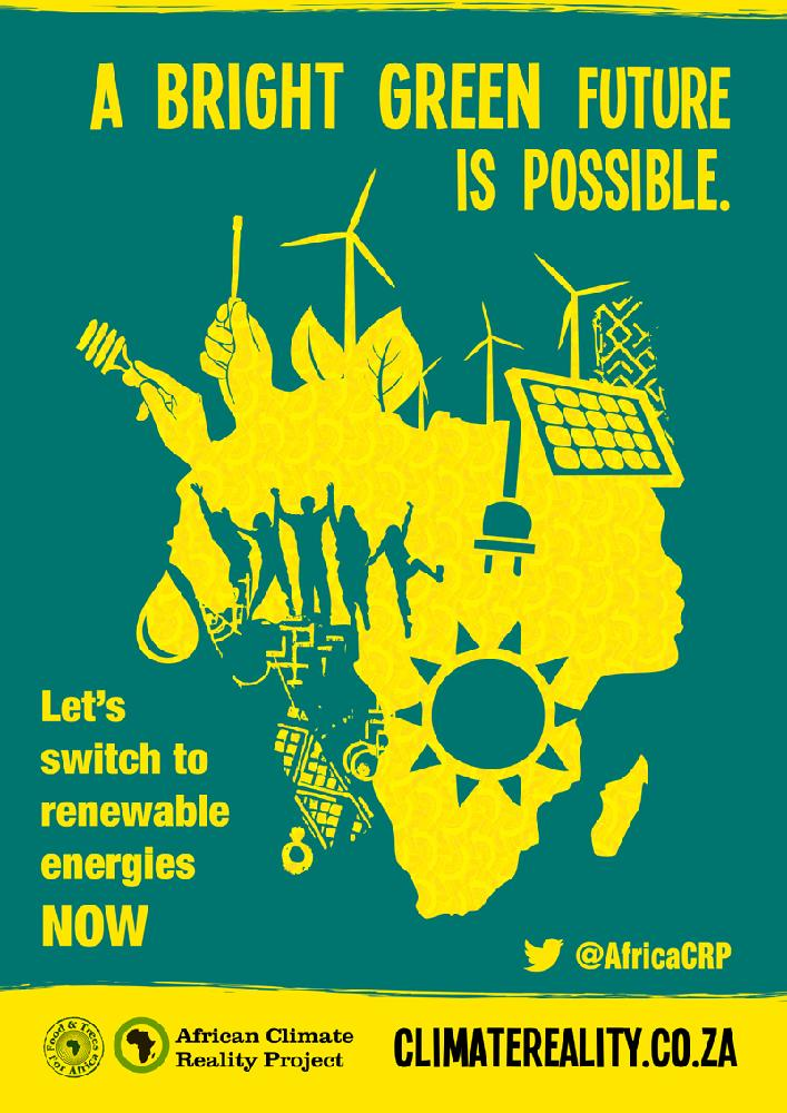 Poster design for renewable energy promotion, using green and yellow, and a focus on Africa