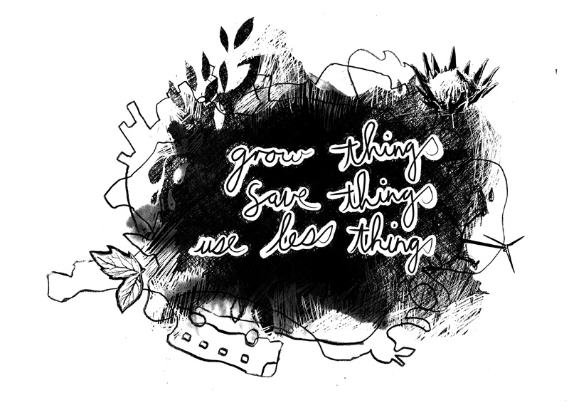Digital hand-drawn illustration aimed at communicating about sustainable living for a t-shirt print