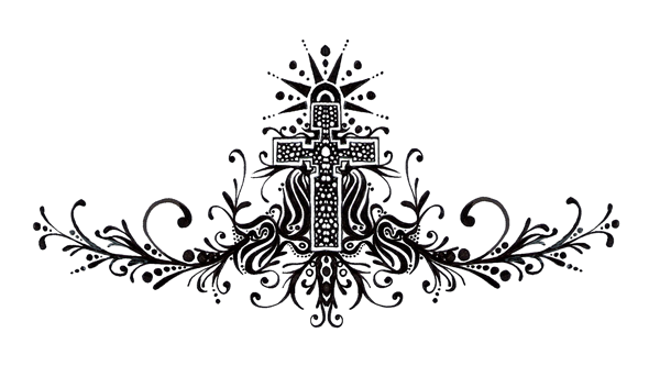 Black and white illustration of a cross, flourishes, stylized design elements