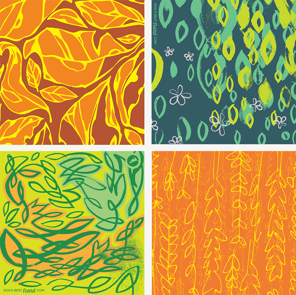 Pattern designs for scarves - vector illustrations in bright colours, inspired by spring, summer and autumn