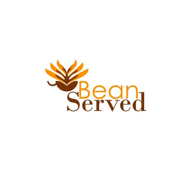 Logo design for a coffee shop, with a floral tea-cup symbol and both sans serif and serif fonts