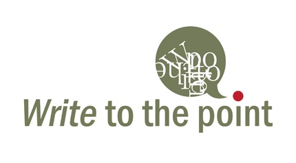 Logo design for Write to the point, with a speech-bubble comma-inspired symbol