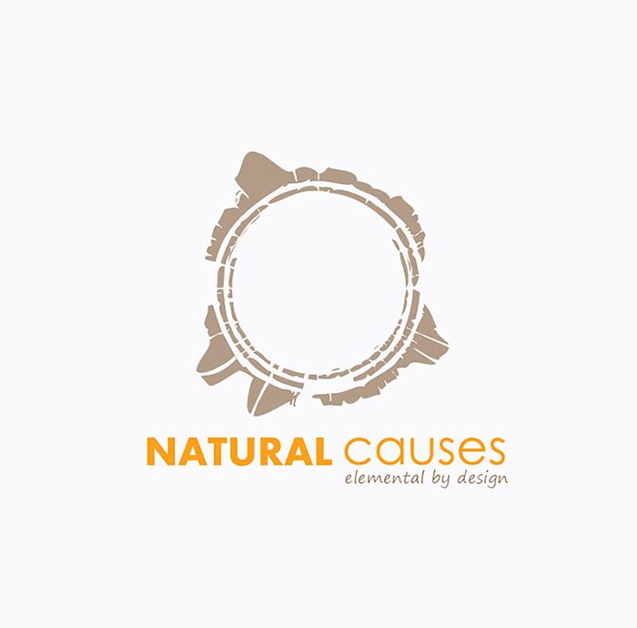 Graphic Design: logo for Natural Causes - in orange and brown, inspired by a tree's inner rings